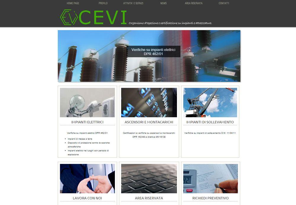 Sito dell'azienda C.E.V.I. srl organismo di certificazione impianti elettrici ed ascensori