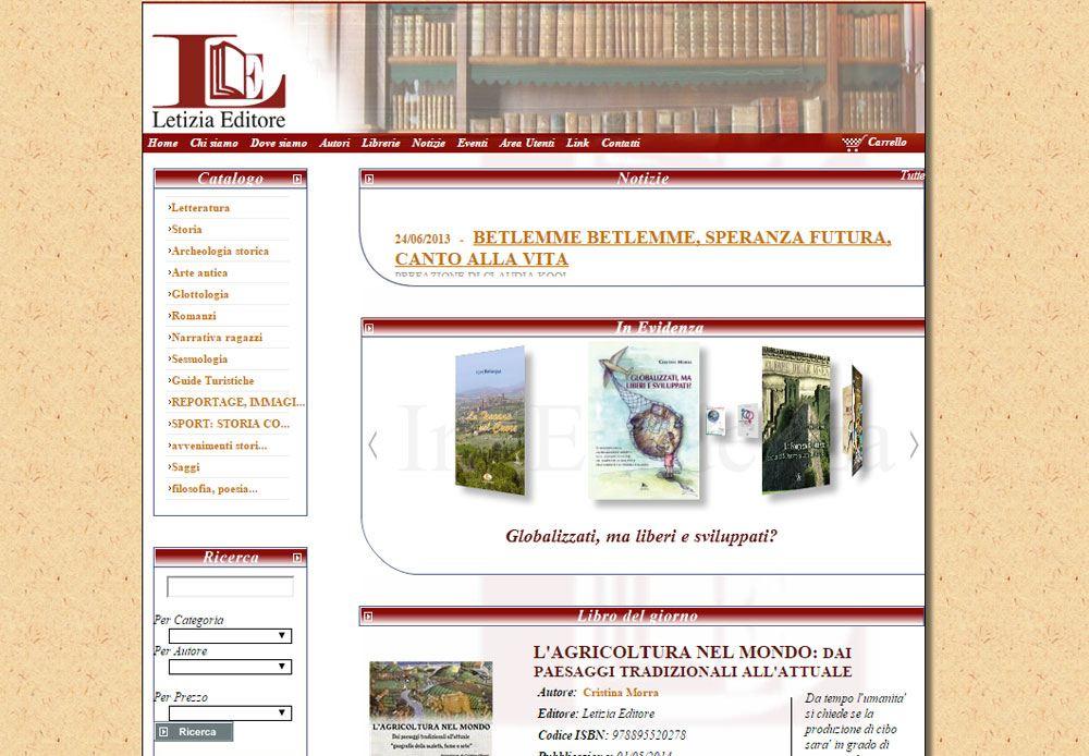 Ecommerce per la vendita online di libri pubblicati dalla casa editrice Letizia Editore.