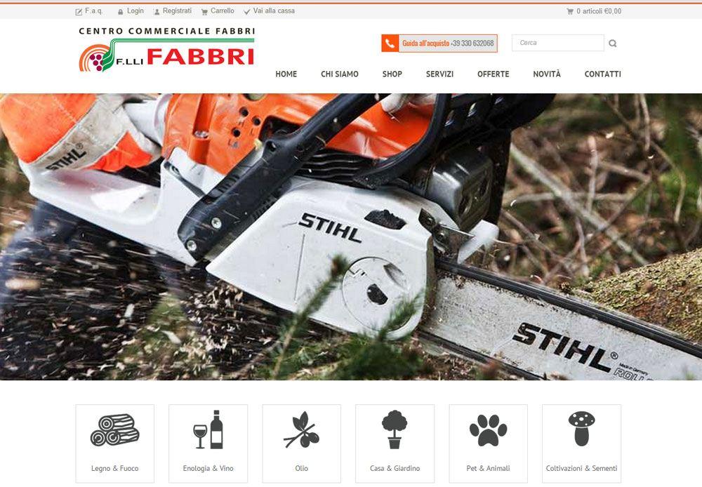 Sito Web Vetrina dell'azienda Fratelli Fabbri con collegamento all'ecommerce